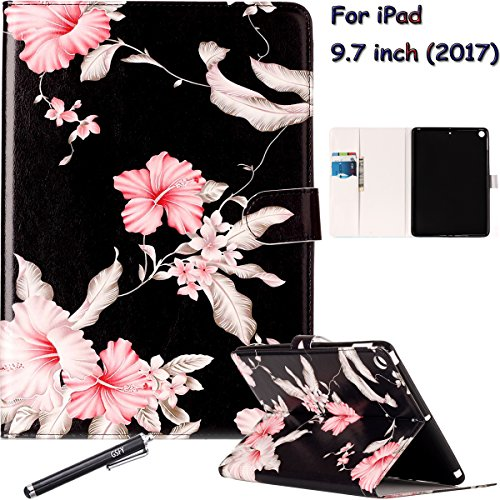 New iPad 9.7 Inch 2017 Case, Newshine PU Leather Magnetic Closure Multi-Angle Viewing Folio Stand Case Book Cover Design with Cash Pocket/ Card Solts for Apple iPad 9.7'' 2017 Version ()