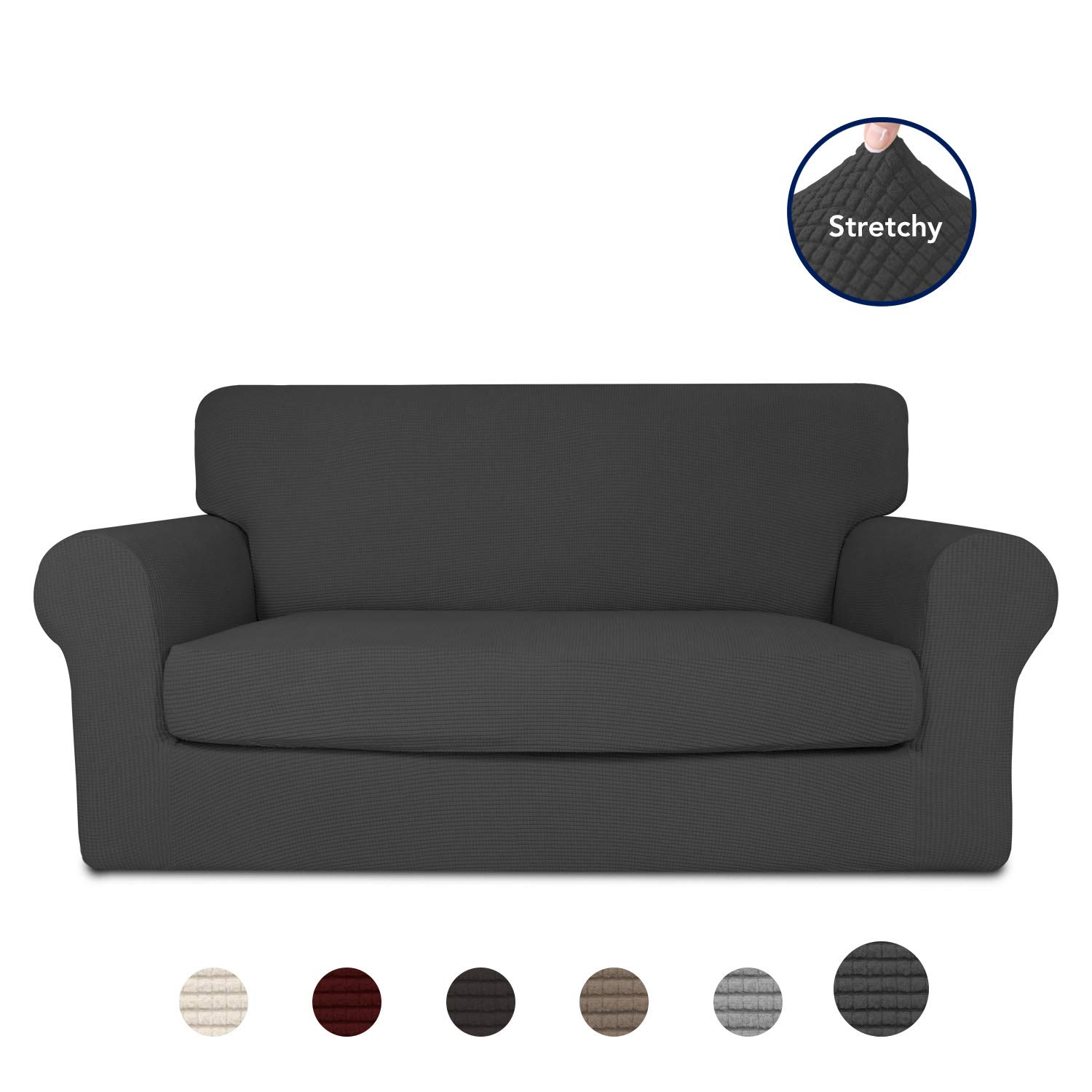 PureFit 2-Piece Stretch Slipcover for 2 Cushion Couch - Spandex Jacquard non-Slip Soft Fitted Sofa Couch Cover Washable Furniture Protector with Anti-Skid Elastic Bottom for Kids (Loveseat, Dark Gray) by PureFit