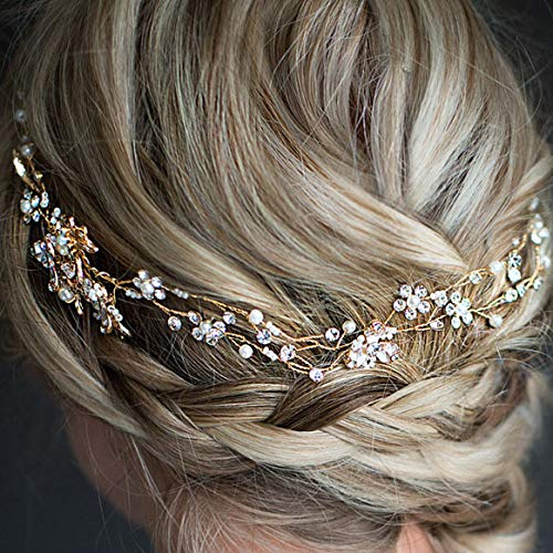 Beautiful Wedding Bridal Head Chain Austria Rhinestone Crystal Bride Headdress For Women Prom Hair Jewelry Accessories gold