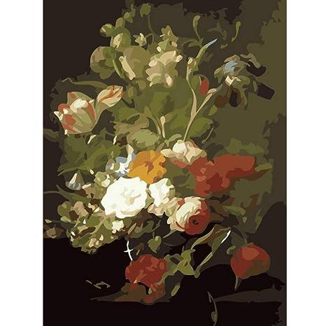 Pintura Digitalhermosas Plantas De Flores En La Botella De