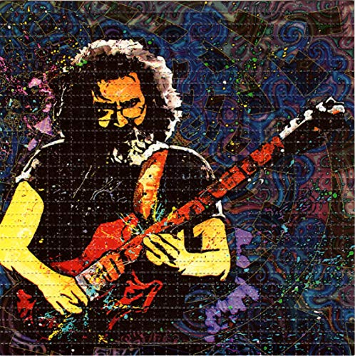 Blotter Art Jerry Garcia in Space Design Psychedelic Print Perforated Sheet, Acid Free LSD Art Paper 30x30, 900 tabs, 7.5 inch, in Clear Protective Sleeve
