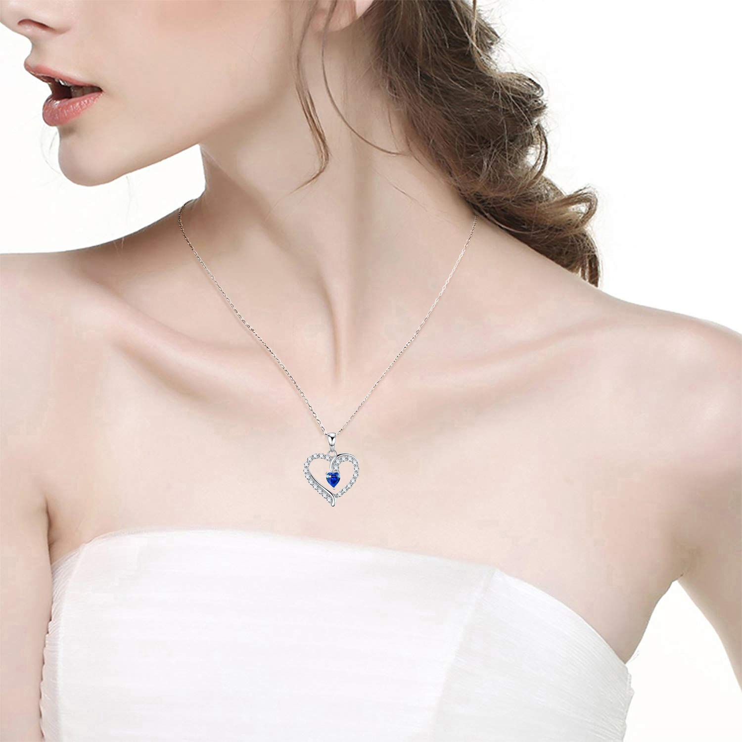 September Birthstone ❤️ You are The Only One ❤️ Love Heart Pendant Necklace for Wife Created Blue Sapphire Fine Jewelry Birthday for Women Her Girlfriend Daughter Sterling Silver by Dorella (Image #4)