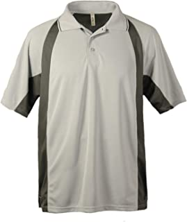 product image for Akwa Men's Bamboo Contrast Mesh Polo Shirt, Small. Silver