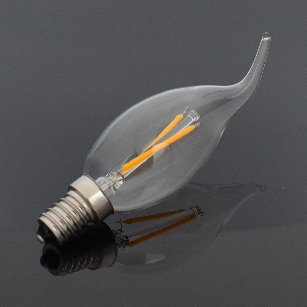 YCDC 10X E12 4W Edison Filament Bulb LED Light Flame Show-room Lamp Warm White