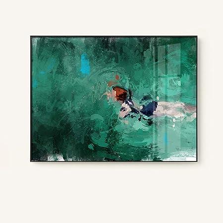 Jialun Mur Art Moderne Figure Abstraite Natation Peinture