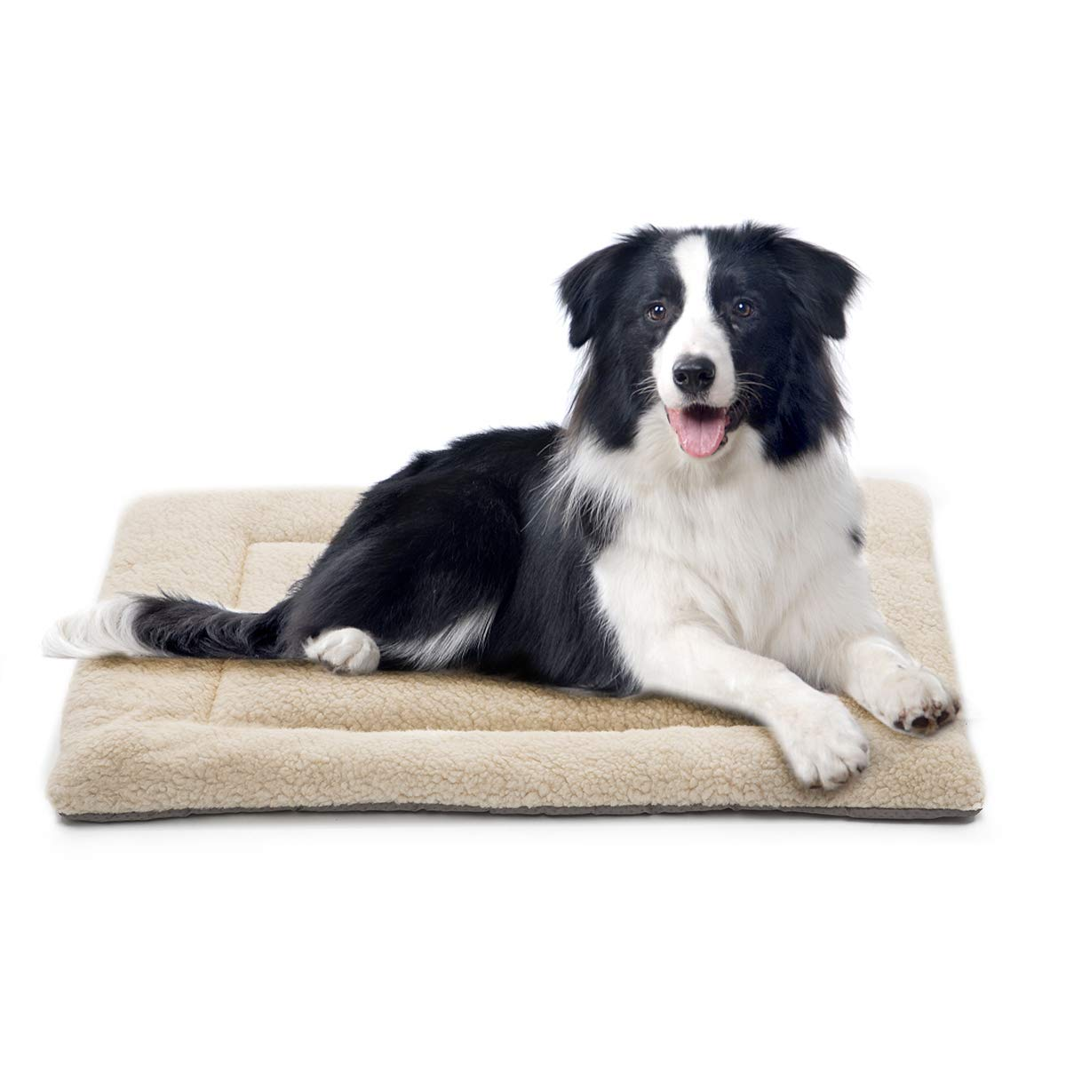 INVENHO Dog Bed Mat Comfortable Soft Crate Pad Anti-Slip Machine Washable Pad Dog Crate Pad Pet Bed for Dogs & Cats Beige 40'' x 27''