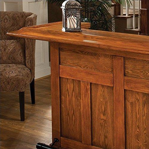 Hillsdale Furniture 62576AXOAK Classic 78 Large Bar with 12 Wine Bottle Storage Side Bar Foot Rest China Oak and Wood Veneer MDF Construction in Oak