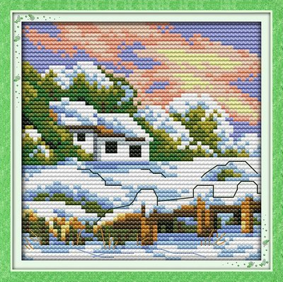 (Joy Sunday Cross Stitch kits, The four seasons scenery(winter),14CT Counted, 16cm×16cm or 6.24