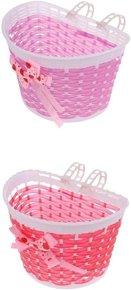 2Pcs Girls Bicycle Basket Flower Bowknot Children//Kids Bike//Cycle Storage