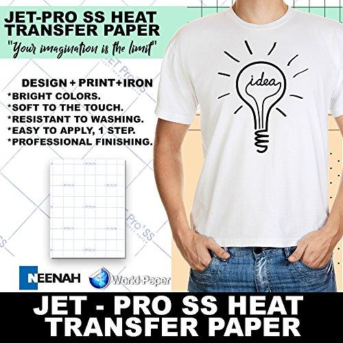 """Jetpro Soft Stretch Inkjet Transfer Paper Lights 8.5"""" x 11"""" (30 sheets)"""