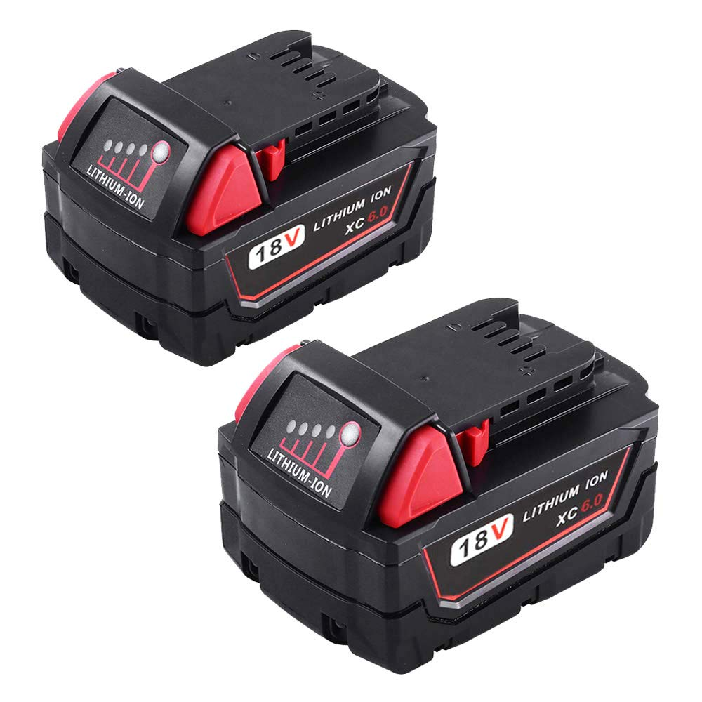 18V 6.0Ah Replace Li-ion Battery for Milwaukee M18 48-11-1811, 48-11-1815, 48-11-1820, 48-11-1822, 48-11-1828, 48-11-1840,Cordless Power Tools (2 Packs)