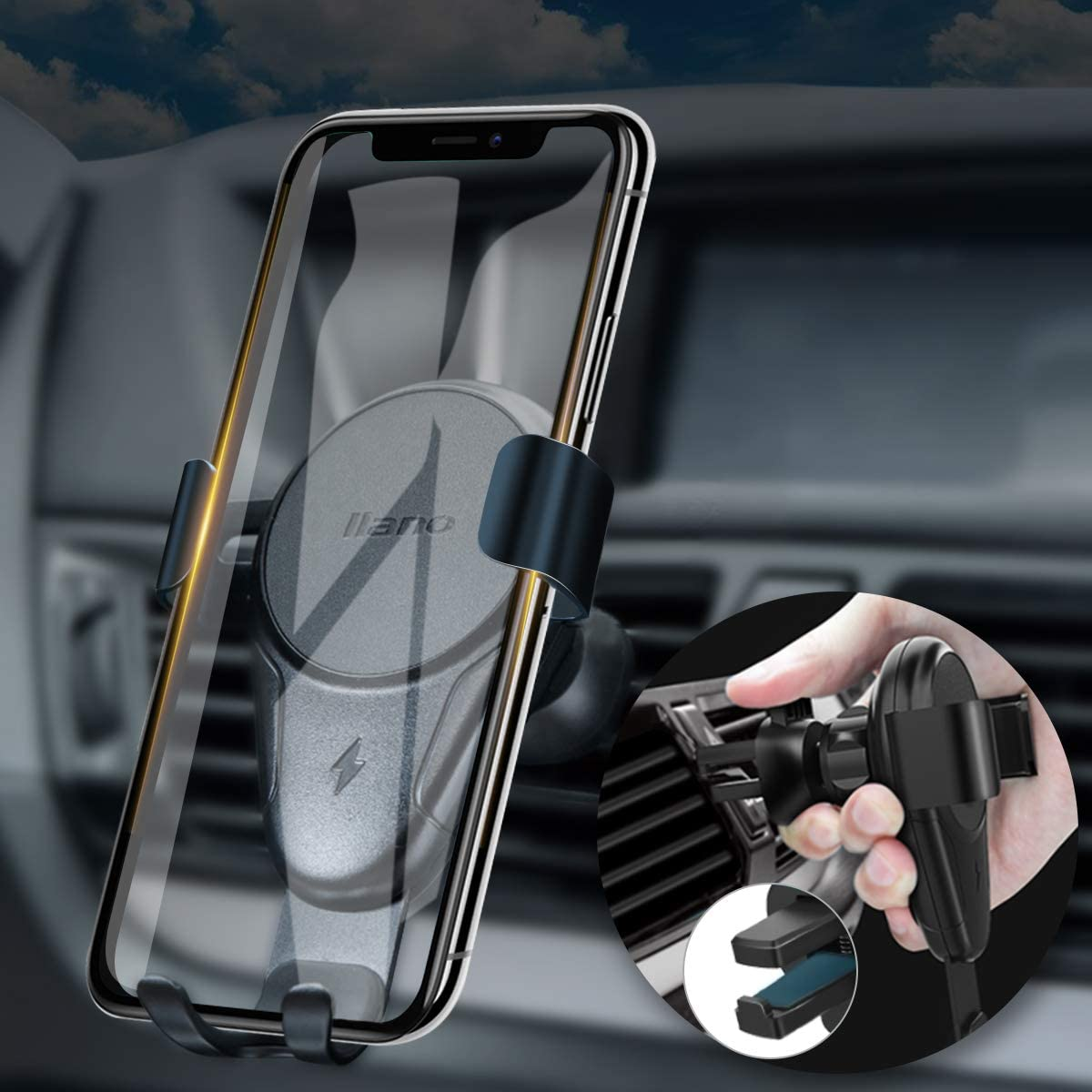 Nllano Wireless Car Charger Auto-Clamp Phone Holder Compatible Galaxy S10//S10+//S9//S9+//S8//S8+//Note 9//Note 8 Black iPhone Xs//Xs Max//XR//X//8//8 Plus and More