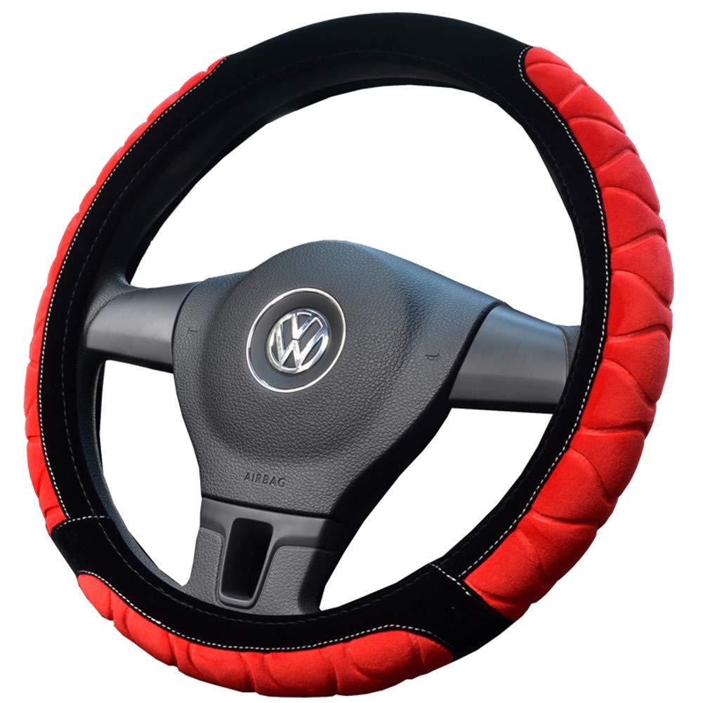 Proumhang Cubiertas de volante de coche de invierno 38cm Funda de volante de coche antideslizante de felpa corta-Gris