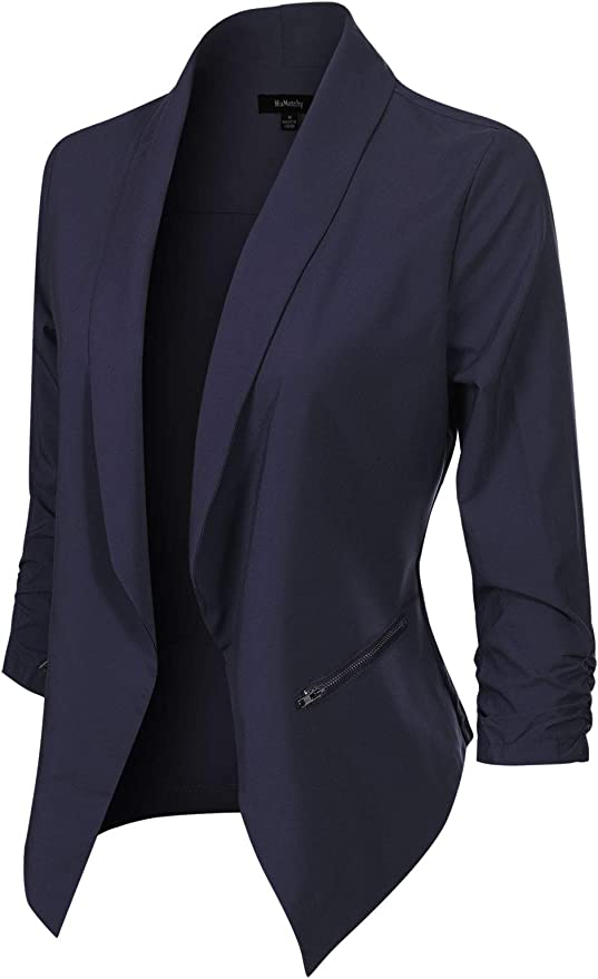 MixMatchy Womens Classic Casual Solid Long Sleeve Knit Blazer