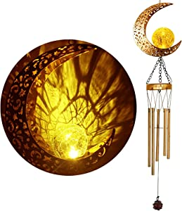 Zawino Solar Wind Chimes for Outside, Moon Windchimes with Light, Large Retro Metal Bells with Crackle Glass Ball, Soft Deep Tone, Outdoor Wind Chime for Garden Patio Decor, Love Memorial, Mom Gift