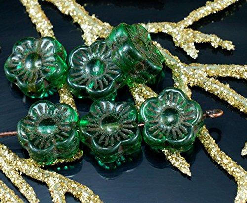 (Rustic Dark Green Brown Lined Czech Glass Flat Flower Beads Bohemian 10mm 16pcs)