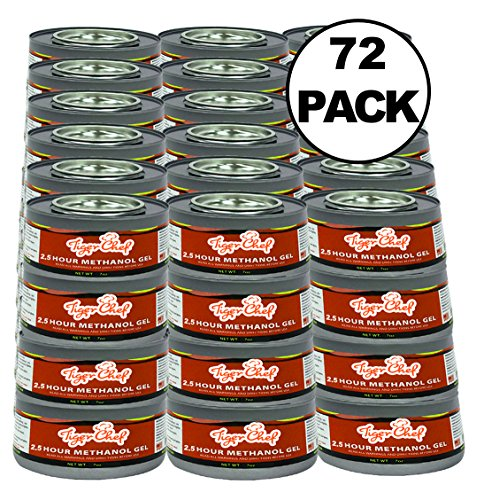 - TigerChef TC-20480 Methanol Chafing Fuel Gel Cans, Burns 2.5 Hours, 7 oz Capacity (Pack of 72)