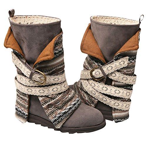 MUK LUKS Womens Nikki Belt Wrapped Boot Fashion