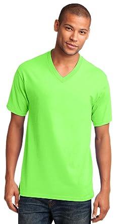 4aa0c0135567 Port   Company 5.4-oz 100% Cotton V-Neck T-Shirt  Neon Green PC54V ...