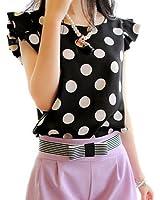 Shouhengda Women Chiffon Polka Dot Blouse Ruffle Sleeve Office Lady Shirts