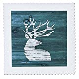 3dRose Russ Billington Designs - White Painted Stag with Antlers on Blue Weatherboard- Not Real Wood - 18x18 inch quilt square (qs_262013_7)