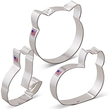 Amazon.com: Kitty Cat Cookie Cutter Set - 3 piece - Cat Face ...