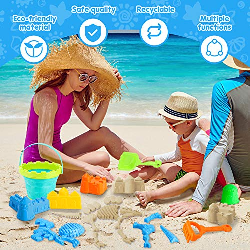 3 otters Beach Toys Set, 25pcs Dinosaur Castle Sand Toys Infant Beach Castle Toys Foldable Beach Bucket