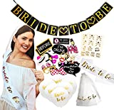 "Bachelorette Party Decorations - Large 60 Piece Kit of Bridal Shower Supplies - Includes ""Bride to Be"" Banner, Veil, Sash; 10 Bride Balloons, 18 Gold Foil Tattoos; 28 Photo Booth Props"