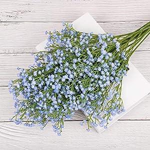 Yunuo 12PCS Artificial Baby Breath/Gypsophila Silk Flower Wedding Bridal Bouquet Home Party Decor Gift (Light Blue) 5