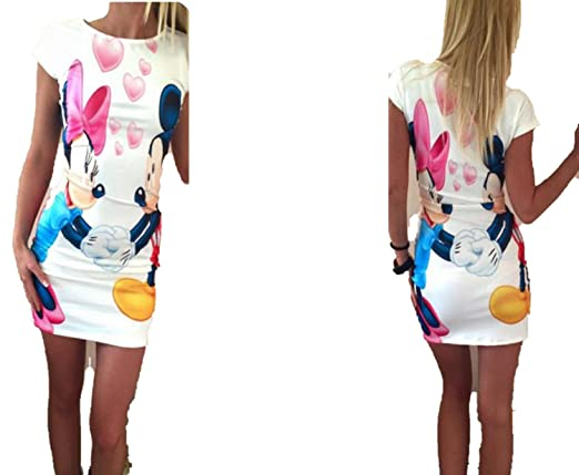 TheUniqueHouse Mini Cartoon Dress Female Casual Sexy Miki Plus Size Dresses Party Short Vestidos at Amazon Womens Clothing store: