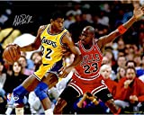 Magic Johnson Los Angeles Lakers Autographed 16' x 20' vs. Jordan Photograph - Fanatics Authentic Certified