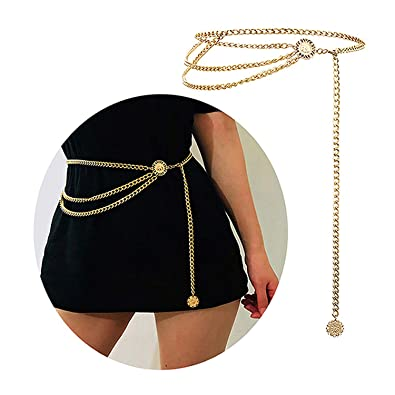 0efc9bd9728 Bohemian Retro Style Multilayer Alloy Waist Chain Body Chain for Women Sun  Pendant Belly Chain Waist