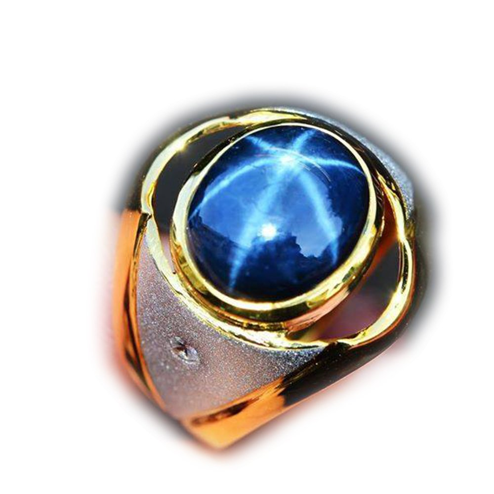 41.16ct Natural Cabochon Blue Stars Sapphire 6 Ray 925 Gold Silver Ring 9.5US #R