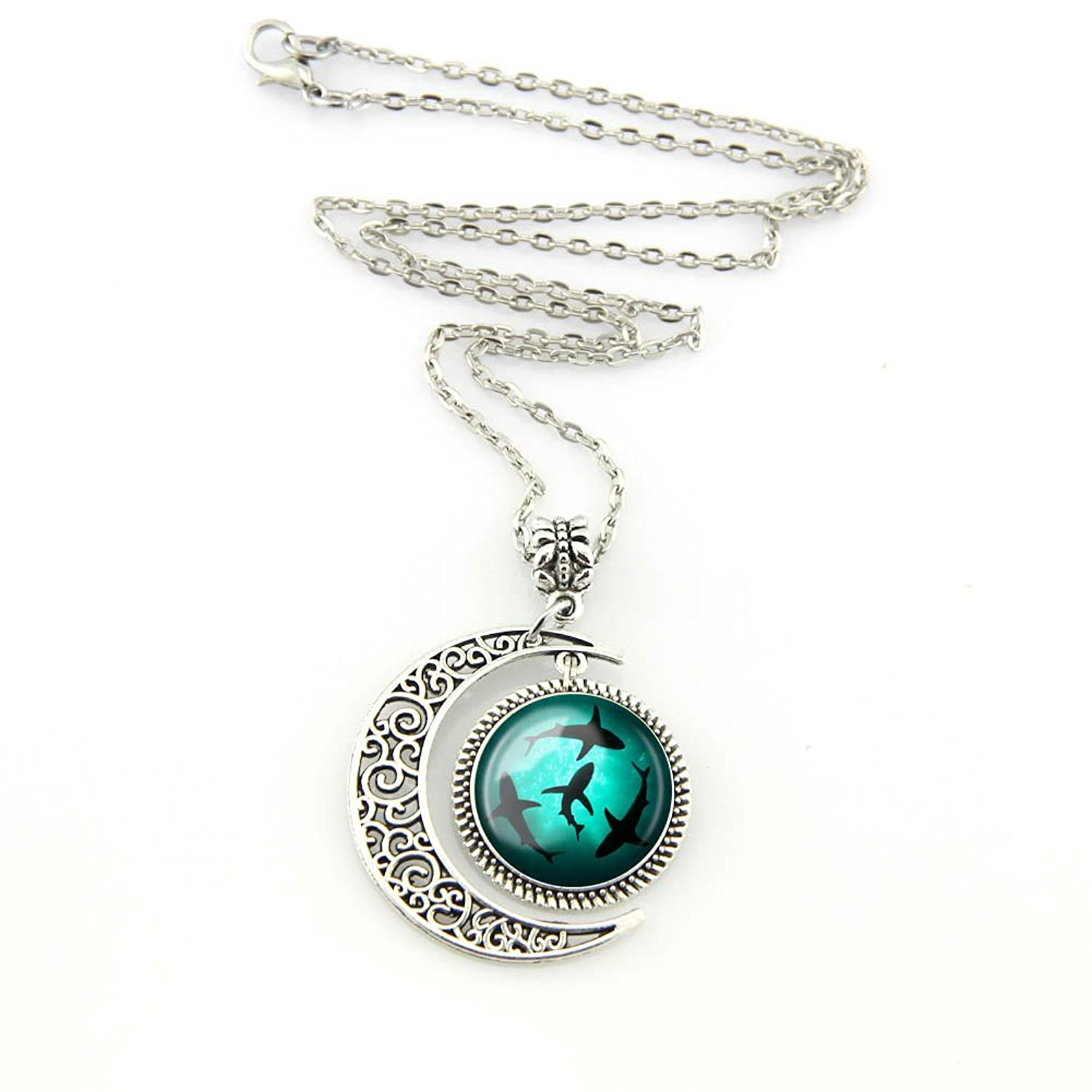 for glow accessories necklace women pendant on necklaces jewelry moon fashion heart item from luminous sailor the in dark