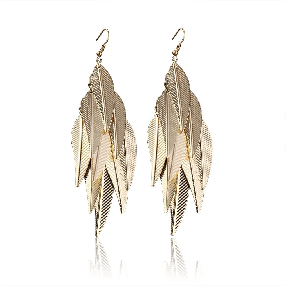 Metal Leaf Tassel Earrings Girls Party Earrings Long Earrings Gifts For Women