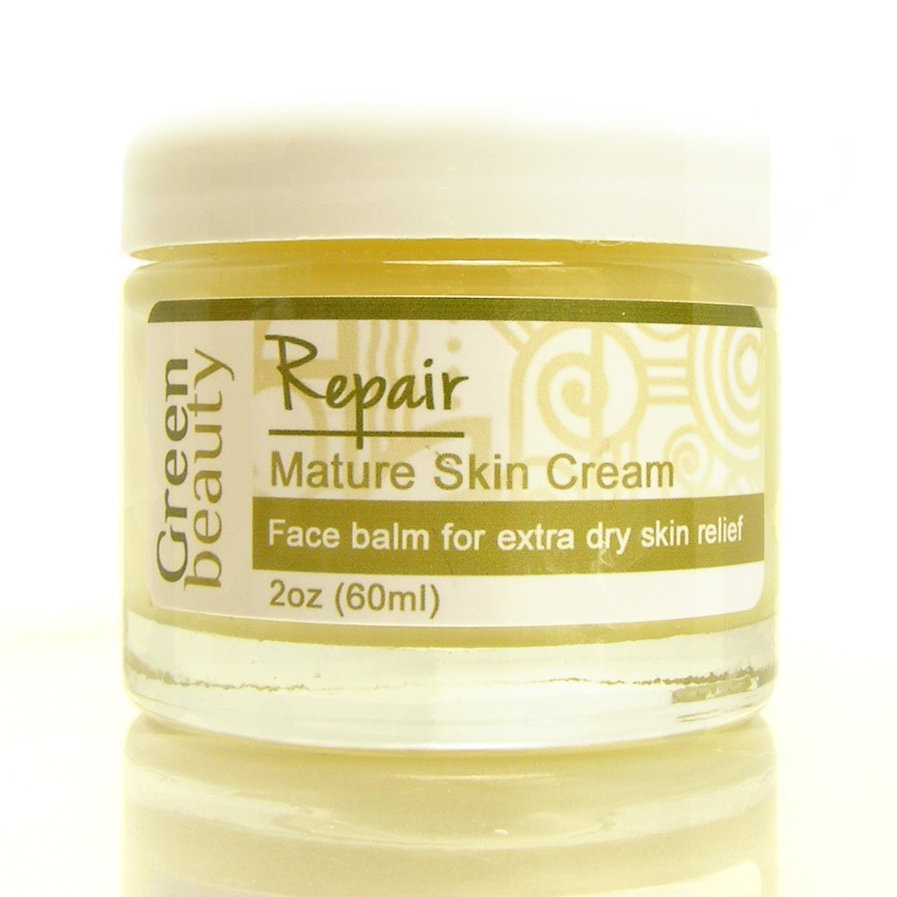 Mature Face Cream for extra dry skin. Use moisturizer as a makeup primer or to seal in moisture and give your face a healthy Green Beauty glow. Eco friendly & cruelty free. 2oz size.