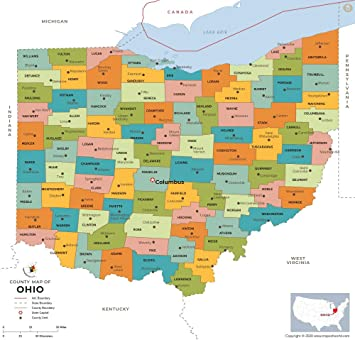 Ohio Map By Counties Amazon.: Ohio County Map   Laminated (36