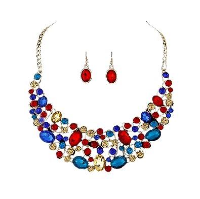 83b3acba17454 Amazon.com: Nataliya Crystal Statement Bib Necklace and Earring Set ...