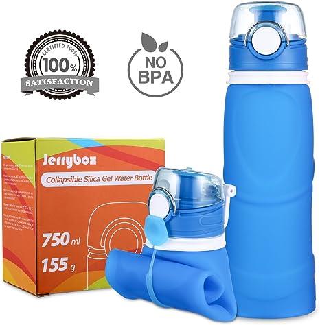 Jerrybox Botella de Agua Reutilizable, Libre de BPA, 750ml, Azul ...