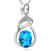 Fine Jewelry Natural Gemstone Gifts for Women Sterling Silver Swiss Blue Topaz Amethyst Citrine Pendant Necklace