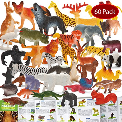 Joyin Toy 60 Pieces Safari Jungle Animal Figures Toddler Toy Set Realistic Wild Plastic Animal Playset - Animal Encyclopedia Included (2.5 to 5.5 (Wild Animal Figure)