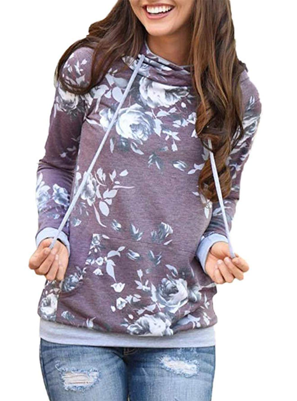 Barlver Women's Casual Hoodies Long Sleeve Sweatshirts Cowl Neck Floral Printed Hooded Pullover Top with Pockets