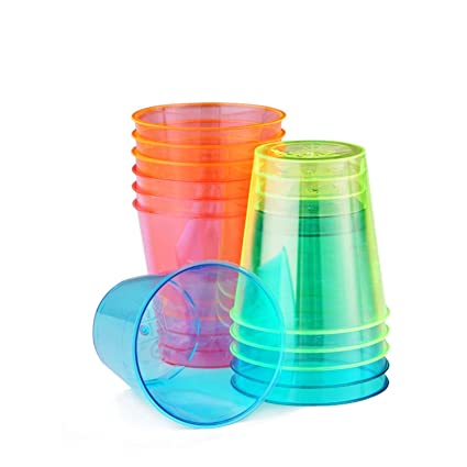 300 colourful disposable neon shot glasses glow in the dark cups volume 30ml - Shot Glass Volume
