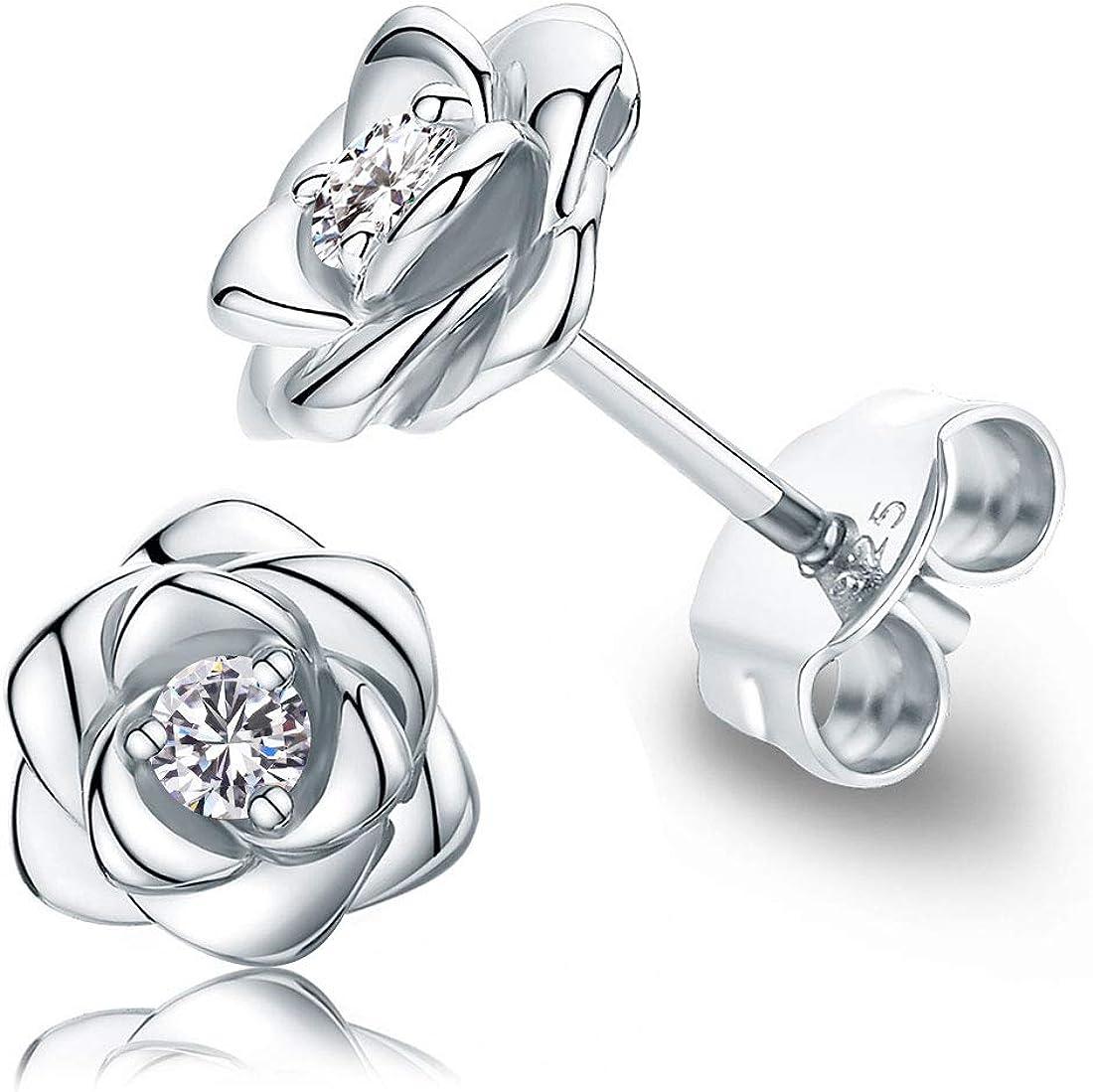 Flower Earrings 925 Sterling Silver Earrings Handmade Rose Earrings Floral Jewelry Rose Flower Earrings for Women Jewelry Gift