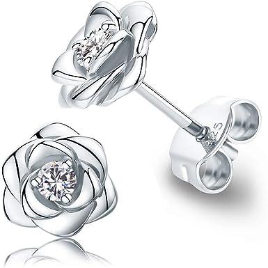 Stud Silver Rose Earrings