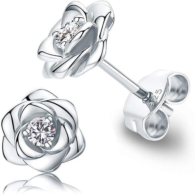 Earrings UK Flower Jewellery Flower Studs Floral Earrings Stainless Steel Studs Blue Green Flower Earrings Aqua Green Flower Studs