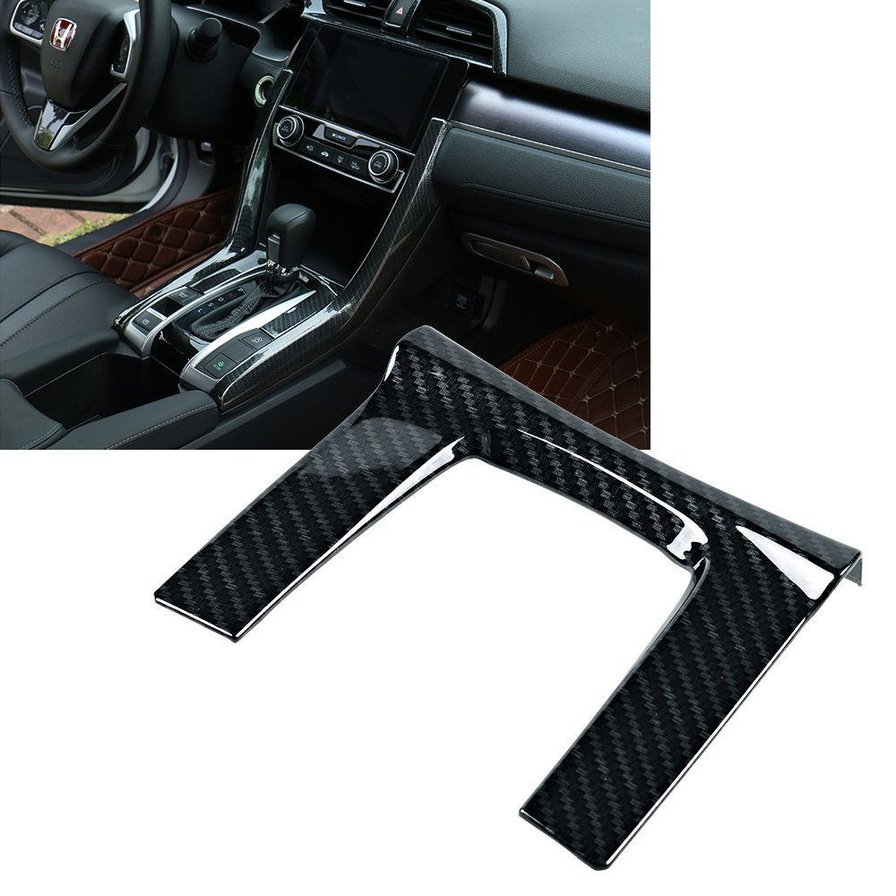 Carbon Fiber Shift Interior Gear Cover Panel Trim For Honda Civic 2016-2018