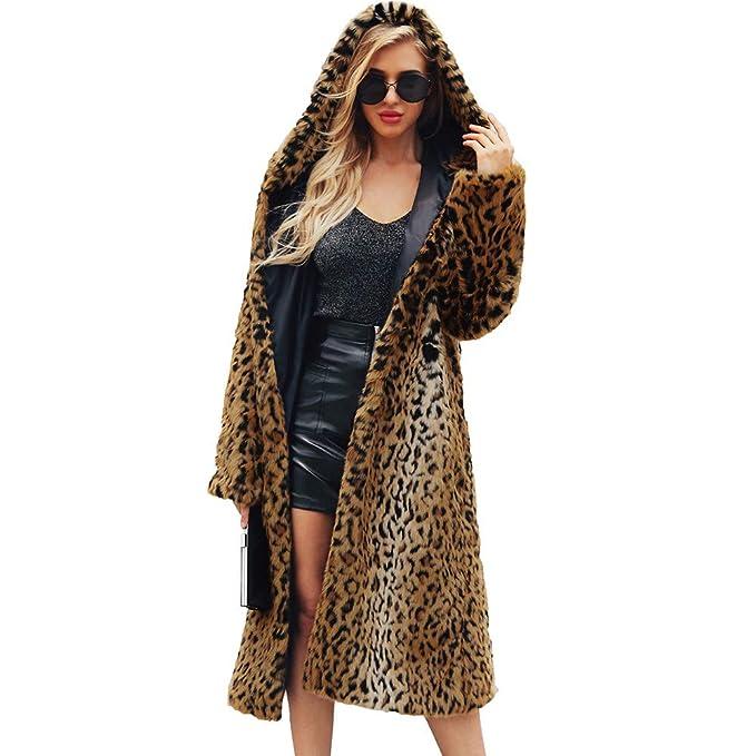 Amazon.com: Sumen Women Warm Faux Fur Hooded Jacket Long Winter Leopard Coat Parka Outerwear: Clothing