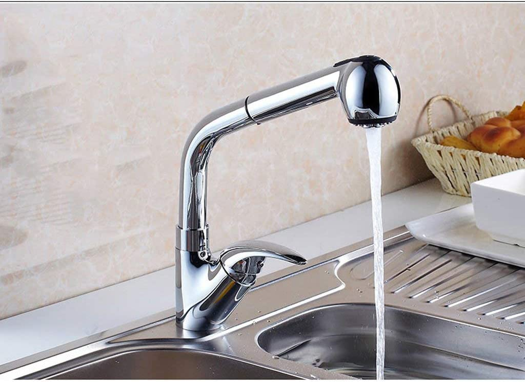 B07V4L8NYK Faucet Chrome Copper Hot and Cold Pull Single Hole Retractable Rotating Sink Bowl Spout Aperture is 35May Can Be Installed 51DcF1UBznL.SL1024_