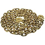 3/8'' X 16' Grade 70 Standard Link Transport Chain, Binder Chain with Clevis Grab Hooks